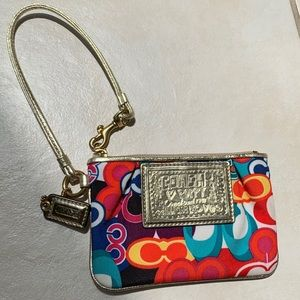 Colorful and Gold Coach Poppy Wristlet